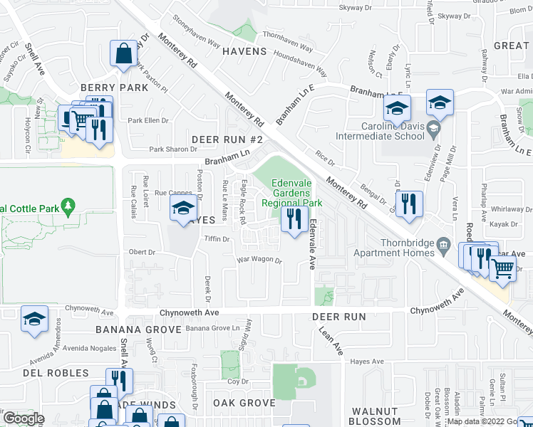 map of restaurants, bars, coffee shops, grocery stores, and more near 5027 Broken Arrow Dr in San Jose