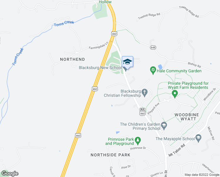 map of restaurants, bars, coffee shops, grocery stores, and more near 125 Oak Meadow Lane in Blacksburg