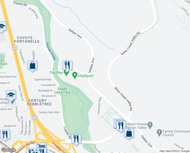 map of restaurants, bars, coffee shops, grocery stores, and more near 5302-5380 Hellyer Avenue in San Jose