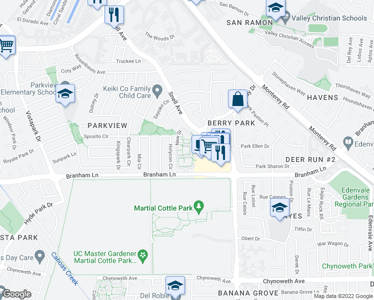 map of restaurants, bars, coffee shops, grocery stores, and more near 4501 Snell Avenue in San Jose
