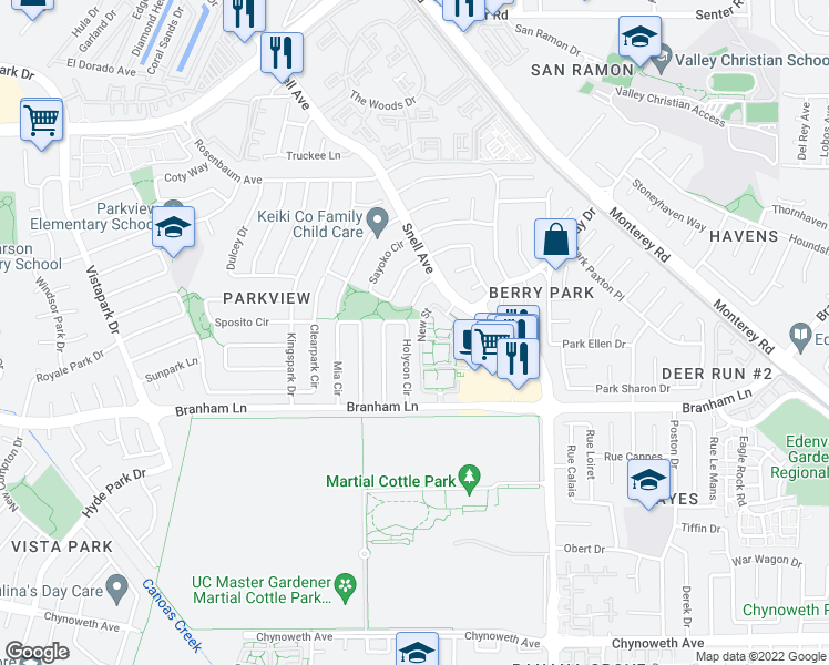 map of restaurants, bars, coffee shops, grocery stores, and more near 4670 Holycon Circle in San Jose