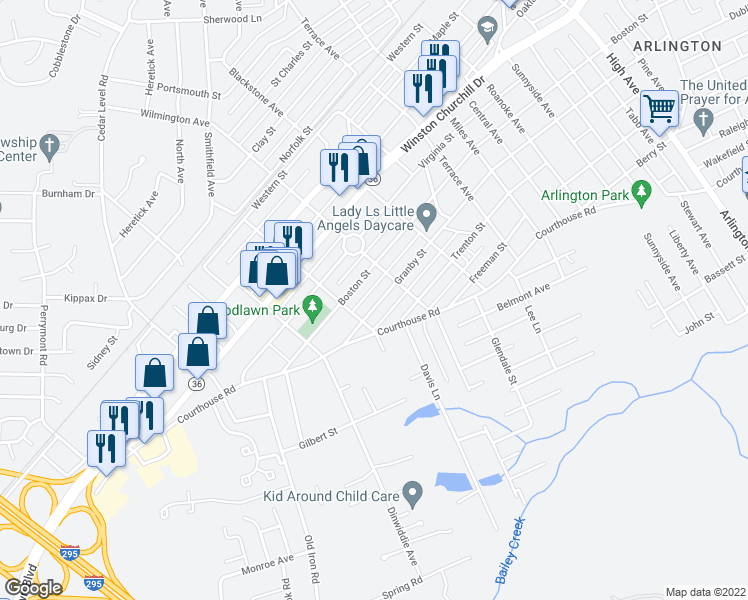 map of restaurants, bars, coffee shops, grocery stores, and more near 3415 Granby Street in Hopewell