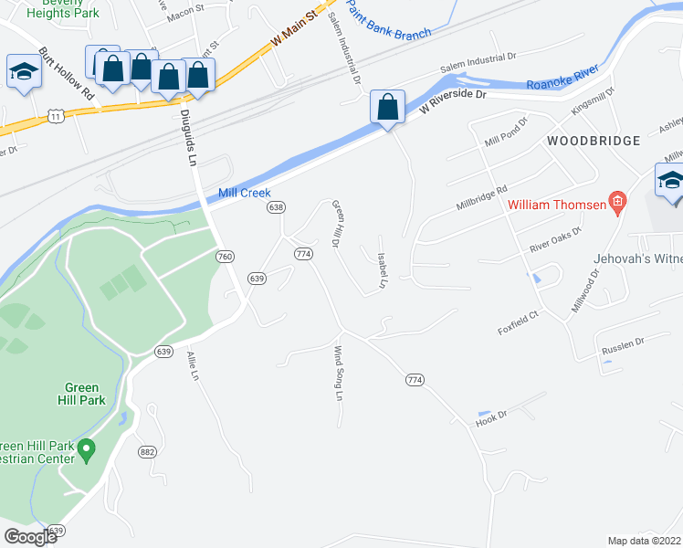 map of restaurants, bars, coffee shops, grocery stores, and more near 3049 Green Hill Drive in Salem