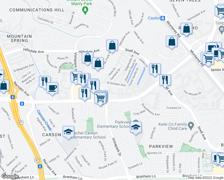 map of restaurants, bars, coffee shops, grocery stores, and more near 383 Vista Roma Way in San Jose