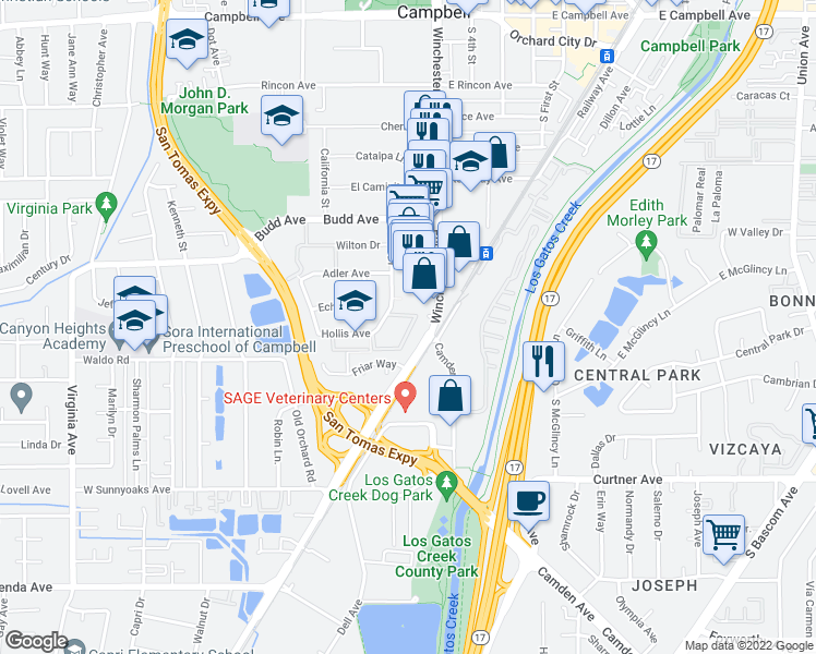 map of restaurants, bars, coffee shops, grocery stores, and more near 710 Nido Drive in Campbell