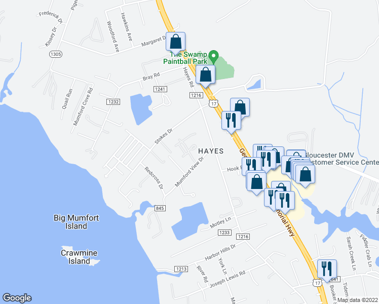 map of restaurants, bars, coffee shops, grocery stores, and more near 2367 Jacqueline Drive in Gloucester Point