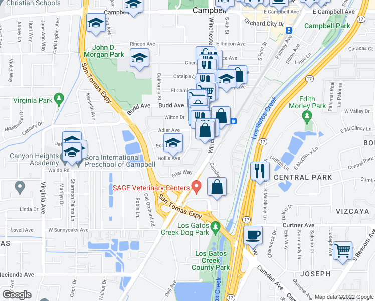 map of restaurants, bars, coffee shops, grocery stores, and more near 550-710 Nido Drive in Campbell