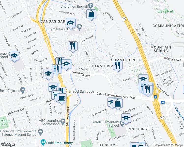 map of restaurants, bars, coffee shops, grocery stores, and more near 3200 Rubino Drive in San Jose