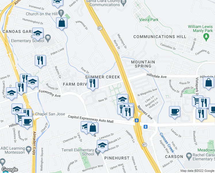 map of restaurants, bars, coffee shops, grocery stores, and more near 810 Hillsdale Avenue in San Jose