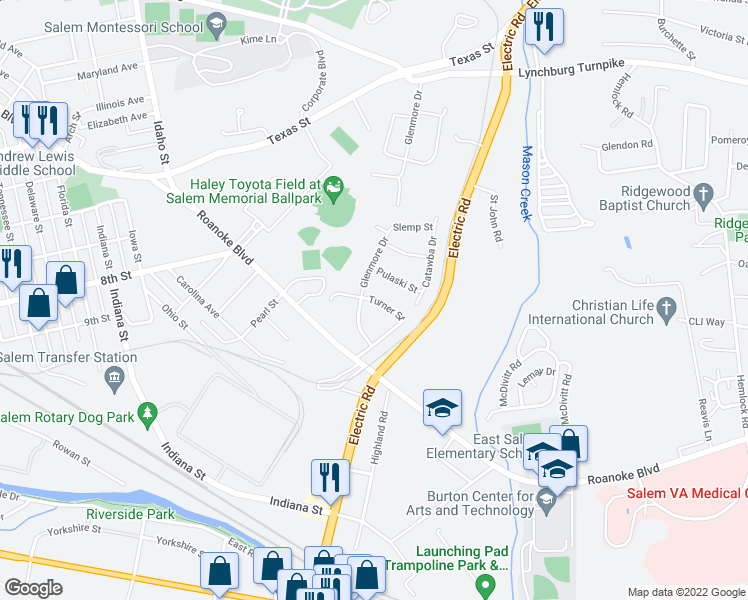 map of restaurants, bars, coffee shops, grocery stores, and more near Turner Street in Salem