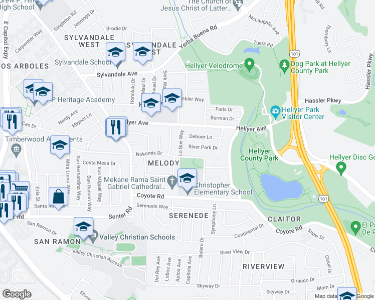 map of restaurants, bars, coffee shops, grocery stores, and more near 714 River Park Drive in San Jose