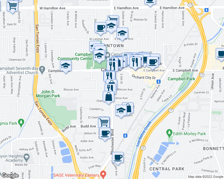 map of restaurants, bars, coffee shops, grocery stores, and more near S Winchester Blvd & E Rincon Ave in Campbell