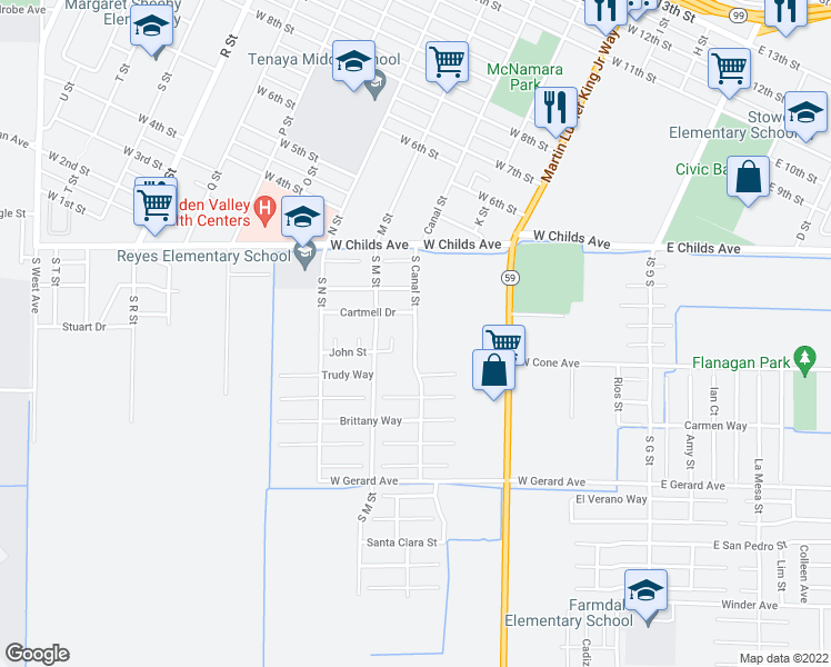 map of restaurants, bars, coffee shops, grocery stores, and more near 218 South Canal Street in Merced