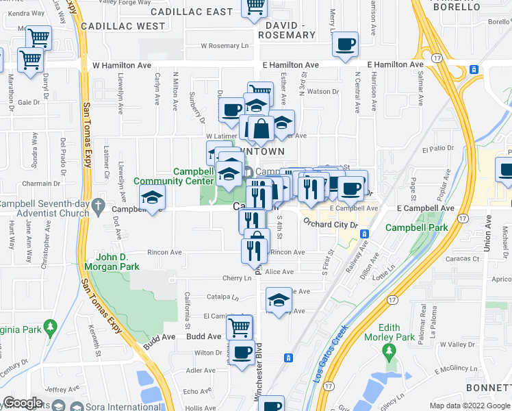 map of restaurants, bars, coffee shops, grocery stores, and more near 2 West Campbell Avenue in Campbell