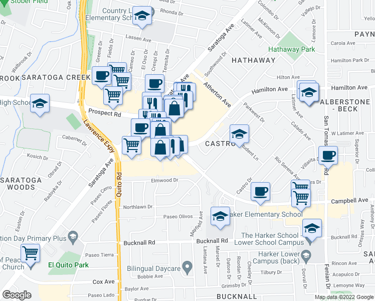 map of restaurants, bars, coffee shops, grocery stores, and more near 4955-4999 Hamilton Avenue in San Jose