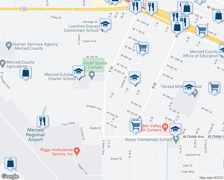 map of restaurants, bars, coffee shops, grocery stores, and more near 405 U Street in Merced