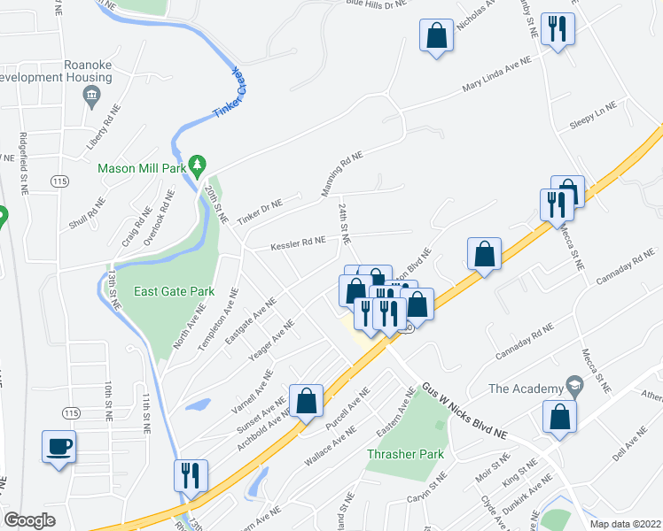 map of restaurants, bars, coffee shops, grocery stores, and more near 2221 Eastgate Avenue Northeast in Roanoke