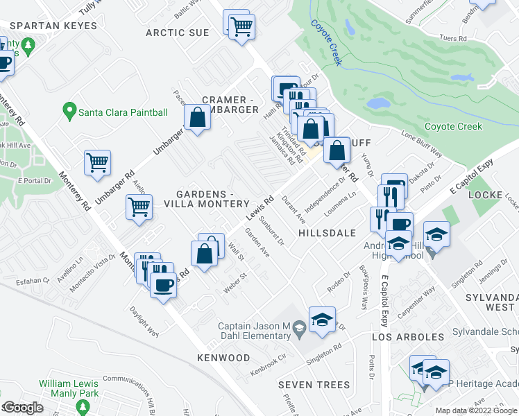 map of restaurants, bars, coffee shops, grocery stores, and more near Lewis Road in San Jose