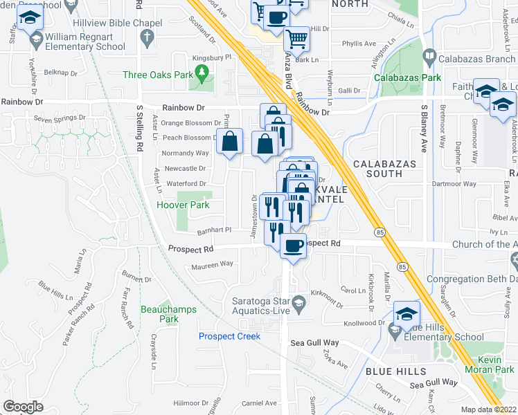 map of restaurants, bars, coffee shops, grocery stores, and more near 1590 James Town Drive in Cupertino