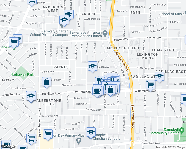 map of restaurants, bars, coffee shops, grocery stores, and more near 1426 Phoenix Drive in San Jose