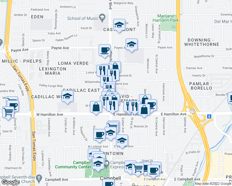 map of restaurants, bars, coffee shops, grocery stores, and more near 3034 Colonial Way in San Jose
