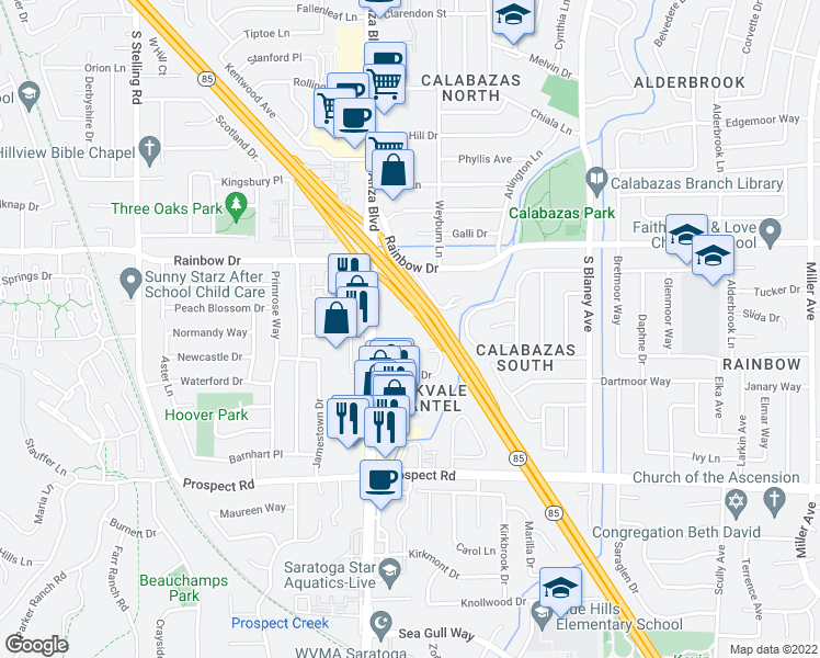 map of restaurants, bars, coffee shops, grocery stores, and more near 6944 Chantel Court in San Jose