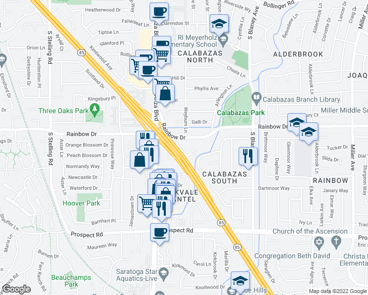 map of restaurants, bars, coffee shops, grocery stores, and more near 7150 Rainbow Drive in San Jose