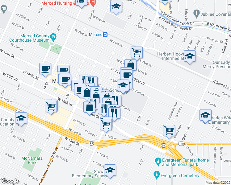 map of restaurants, bars, coffee shops, grocery stores, and more near 24 West 19th Street in Merced