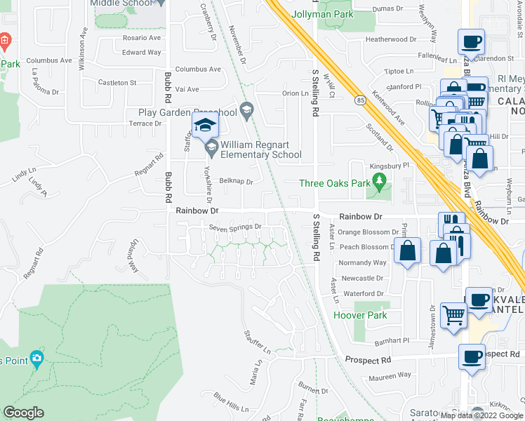 map of restaurants, bars, coffee shops, grocery stores, and more near Rainbow Dr in Cupertino