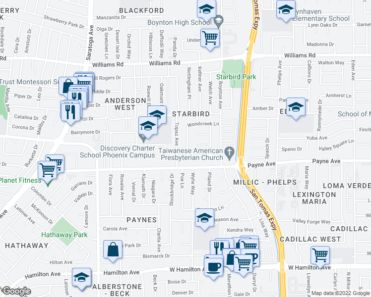 map of restaurants, bars, coffee shops, grocery stores, and more near 3933 Woodcreek Lane in San Jose