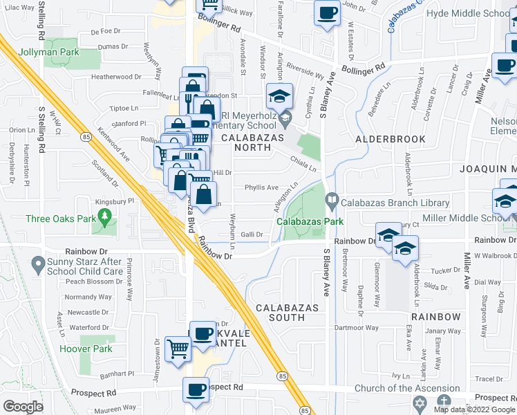 map of restaurants, bars, coffee shops, grocery stores, and more near 7098 Phyllis Avenue in San Jose