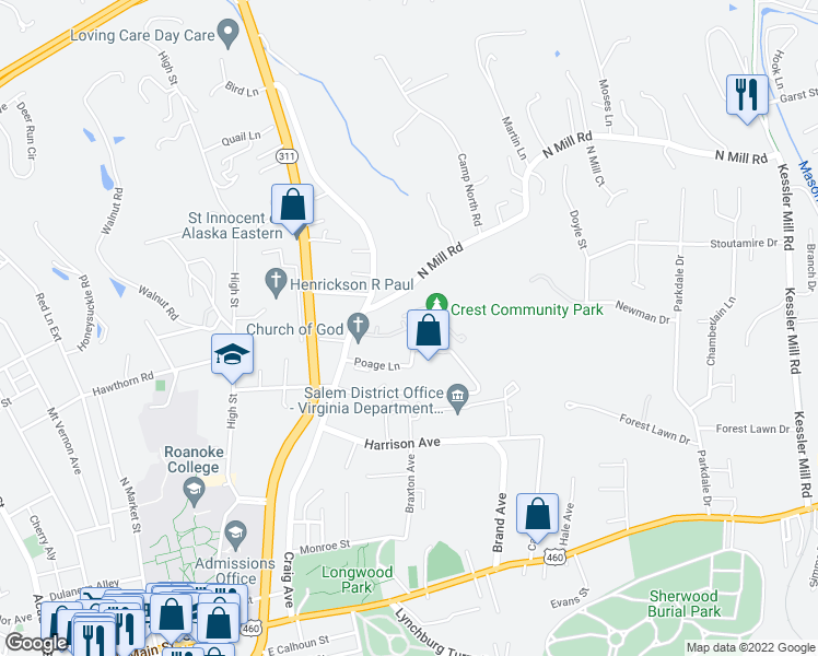 map of restaurants, bars, coffee shops, grocery stores, and more near 128 Rutledge Drive in Salem