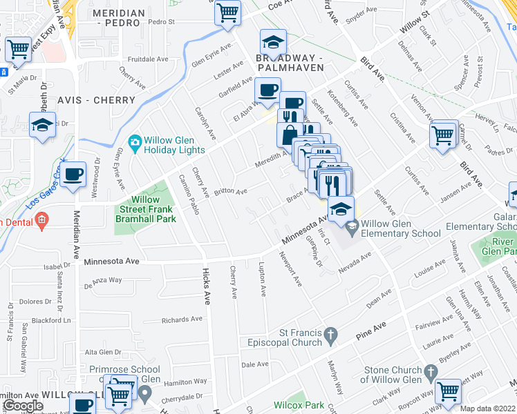 map of restaurants, bars, coffee shops, grocery stores, and more near 1191 Brace Avenue in San Jose