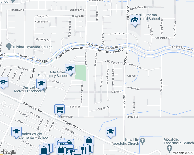 map of restaurants, bars, coffee shops, grocery stores, and more near 2758 Branco Avenue in Merced