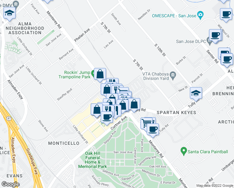 map of restaurants, bars, coffee shops, grocery stores, and more near 2122 Monterey Road in San Jose