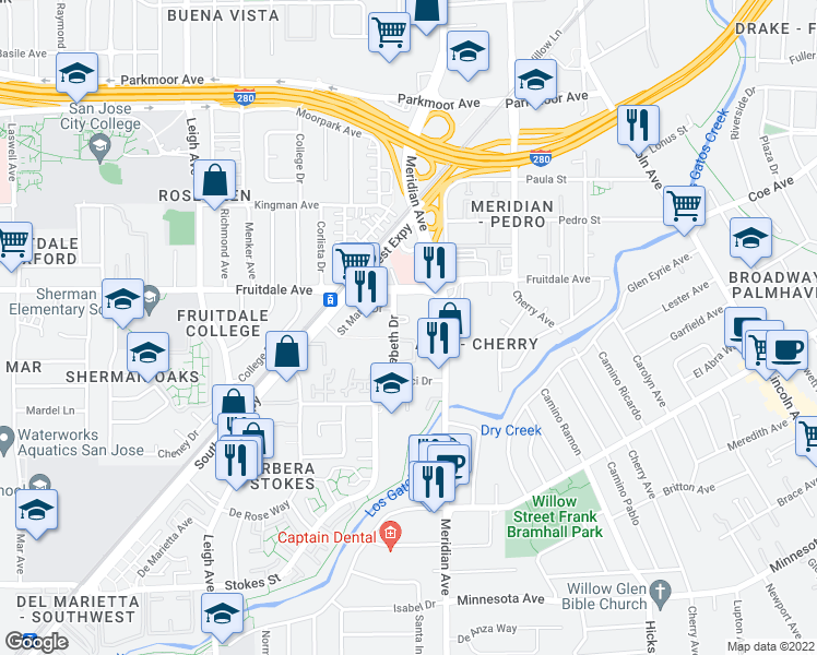 map of restaurants, bars, coffee shops, grocery stores, and more near 834-852 Saint Elizabeth Drive in San Jose