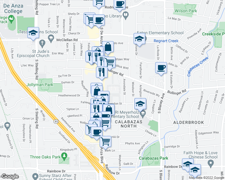 map of restaurants, bars, coffee shops, grocery stores, and more near 1026 South De Anza Boulevard in San Jose
