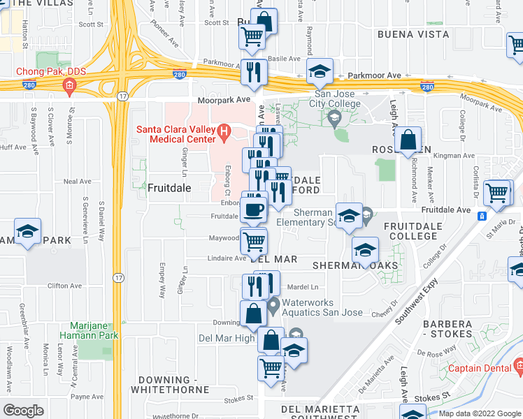 map of restaurants, bars, coffee shops, grocery stores, and more near South Bascom Avenue & Fruitdale Avenue in San Jose
