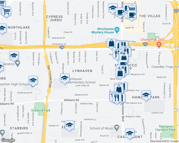 map of restaurants, bars, coffee shops, grocery stores, and more near 781 Onyx Ct in San Jose
