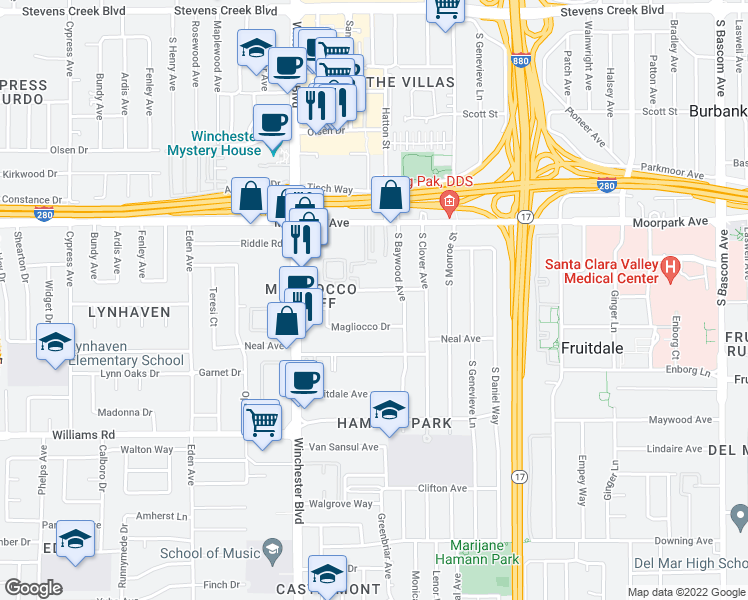 map of restaurants, bars, coffee shops, grocery stores, and more near 2950 Huff Avenue in San Jose