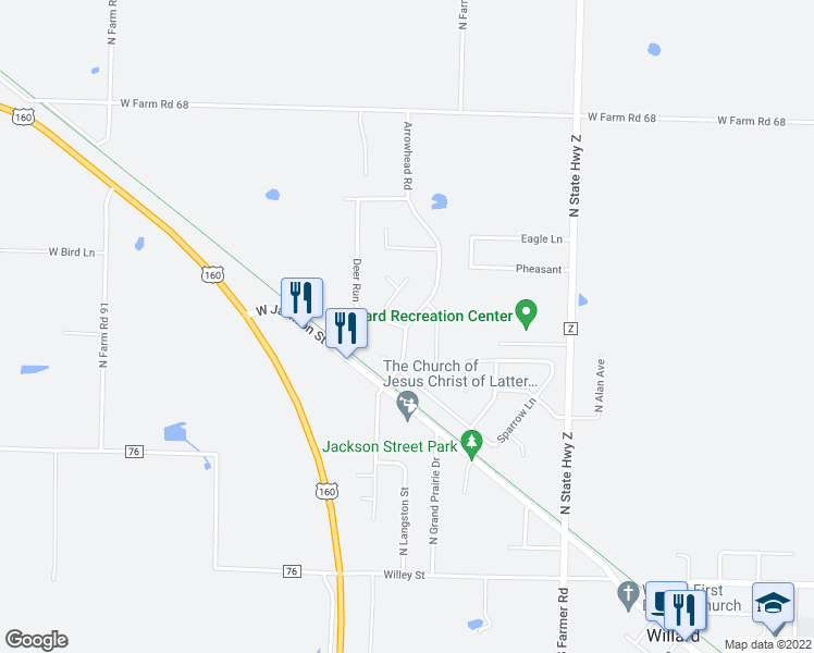 map of restaurants, bars, coffee shops, grocery stores, and more near Arrowhead Road in Willard