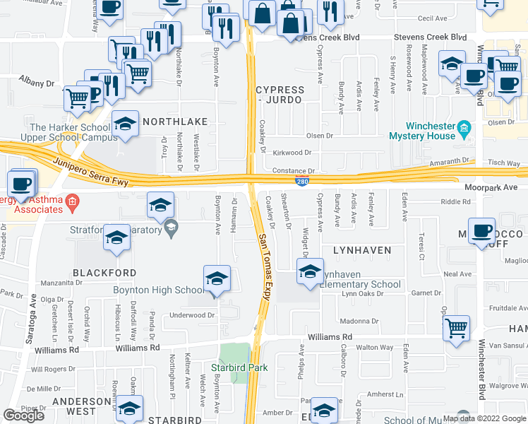 map of restaurants, bars, coffee shops, grocery stores, and more near 3615 Greenlee Drive in San Jose