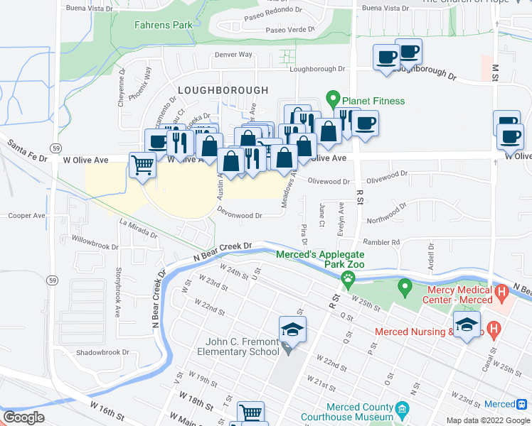 map of restaurants, bars, coffee shops, grocery stores, and more near 1205 Devonwood Drive in Merced