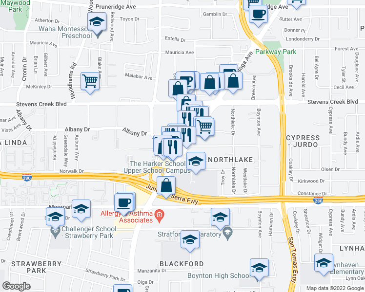 map of restaurants, bars, coffee shops, grocery stores, and more near Kiely Boulevard in San Jose