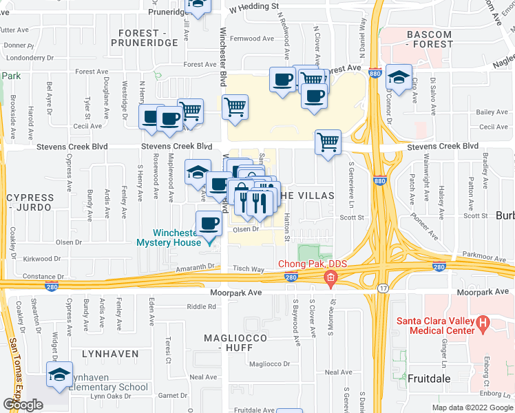 map of restaurants, bars, coffee shops, grocery stores, and more near 367 Santana Row in San Jose