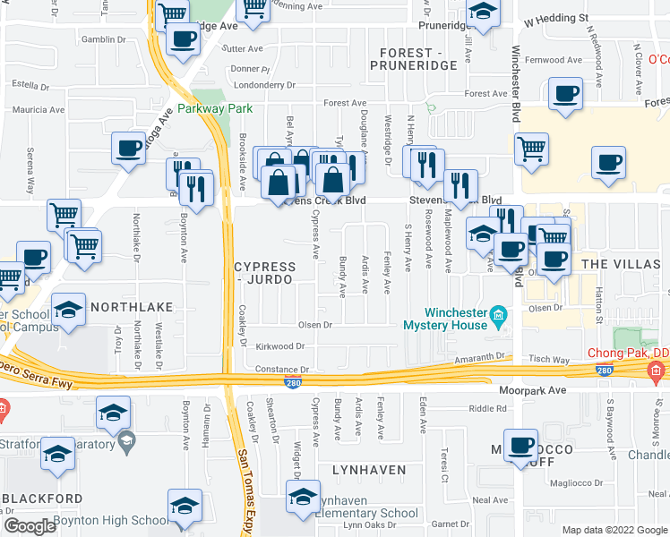 map of restaurants, bars, coffee shops, grocery stores, and more near 409 Bundy Avenue in San Jose
