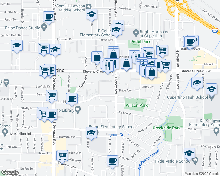 map of restaurants, bars, coffee shops, grocery stores, and more near 10159 South Blaney Avenue in Cupertino