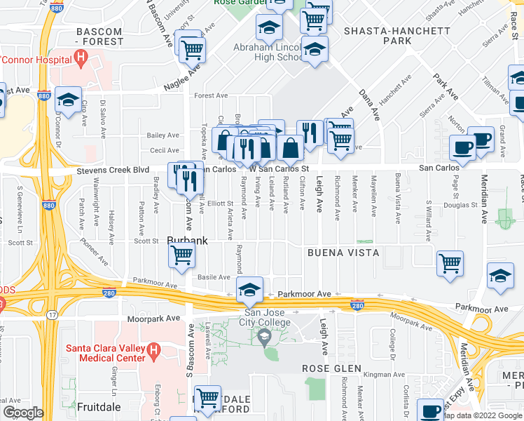 map of restaurants, bars, coffee shops, grocery stores, and more near 418 Irving Avenue in San Jose
