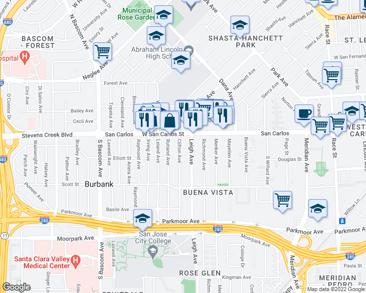 map of restaurants, bars, coffee shops, grocery stores, and more near 346 Clifton Avenue in San Jose