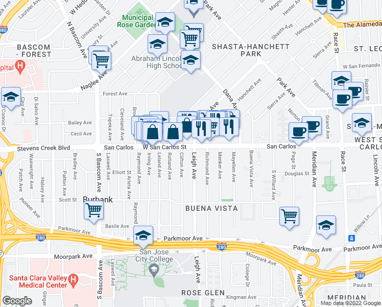 map of restaurants, bars, coffee shops, grocery stores, and more near 315 Leigh Avenue in San Jose